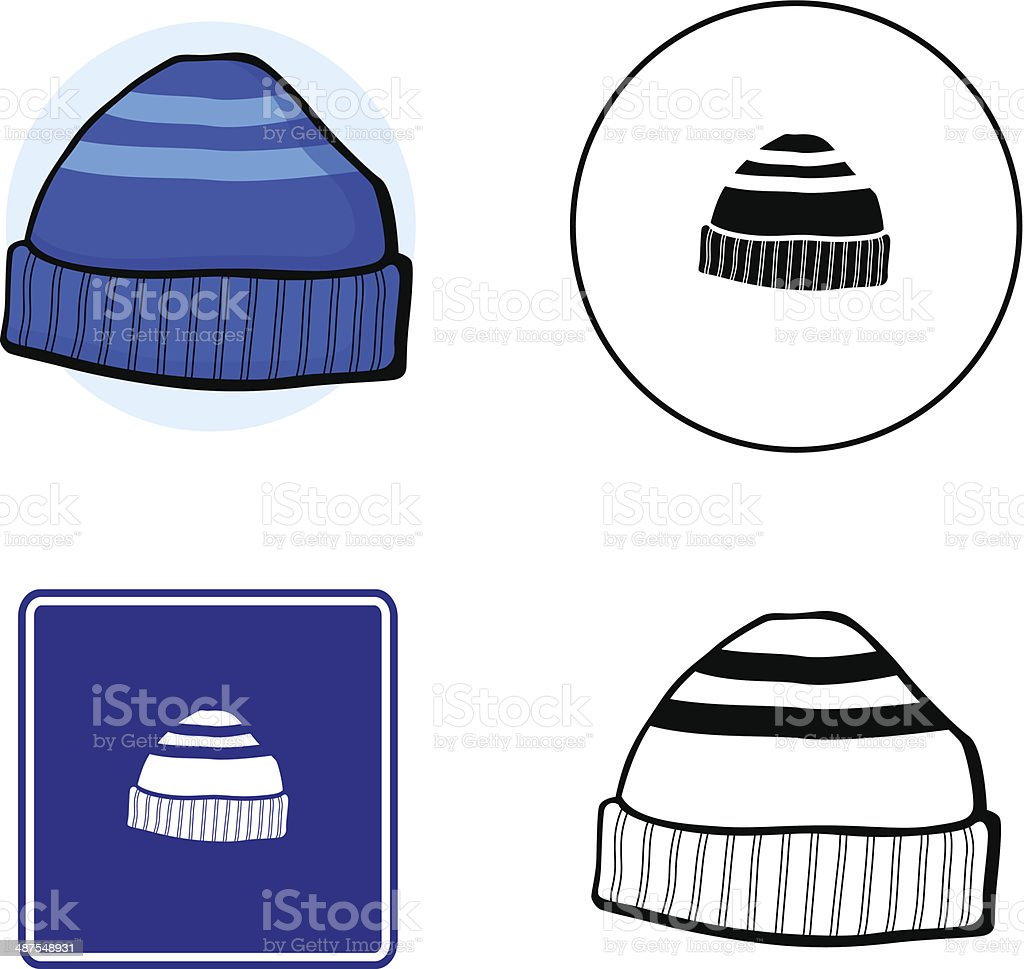 beanie knit cap mixed vector set vector art illustration