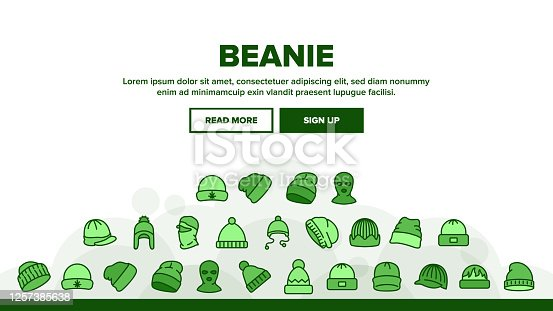 istock Beanie Seasonal Hat Landing Header Vector 1257385638