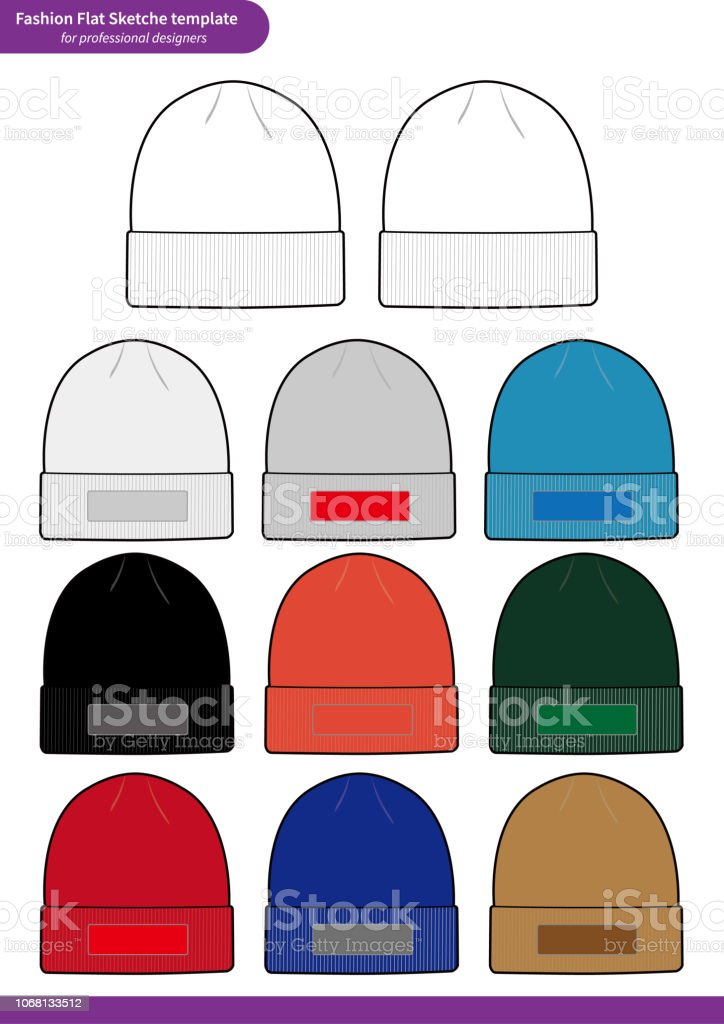 c8b63255427 Beanie set Fashion flat technical drawing vector template - Illustration .