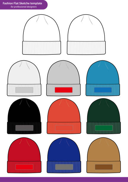 beanie set fashion flat technical drawing vector template stock