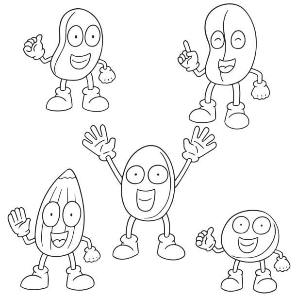 beans cartoon - square foot garden stock illustrations, clip art, cartoons, & icons