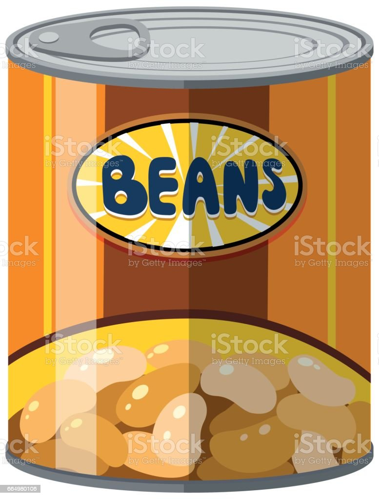 Beans in aluminum can vector art illustration