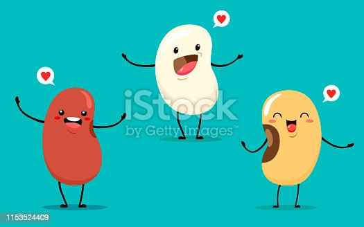 Beans of different types in a cartoon style. Smiling characters kawaii. Vector isolates on turquoise background