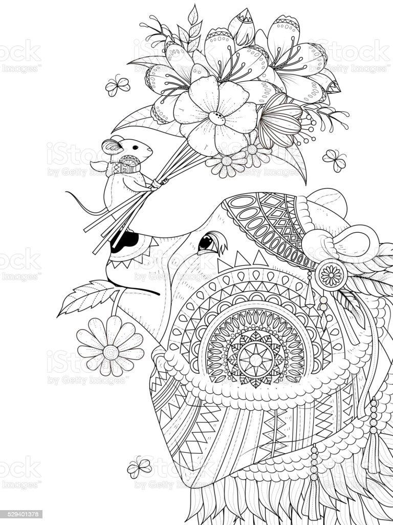 Oso De Adultos Página Para Colorear - Arte vectorial de stock y más ...