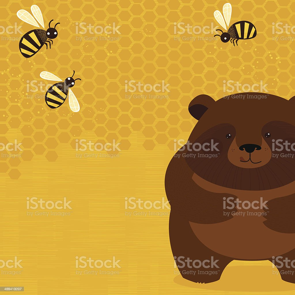 Bear and bees vector art illustration