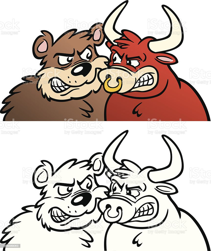 Bear and Bull Facing Each Other royalty-free bear and bull facing each other stock vector art & more images of anger