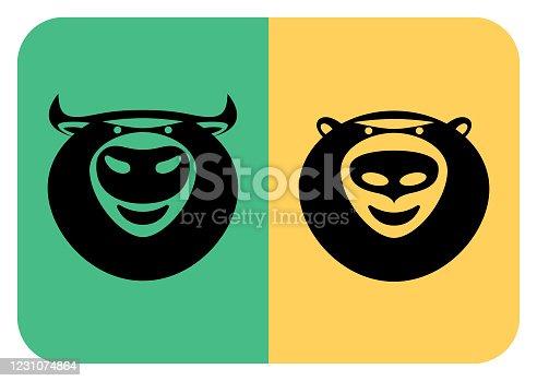 vector illustration of bear and bull heads