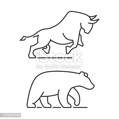 Bear and Bull Icons Set on White Background. Vector illustration