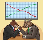 Bear and bull on the stock exchange.