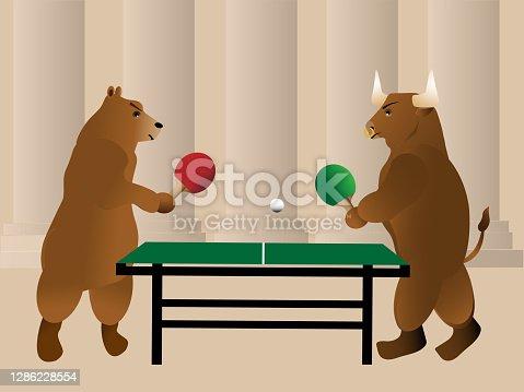 Bear and bull play ping pong
