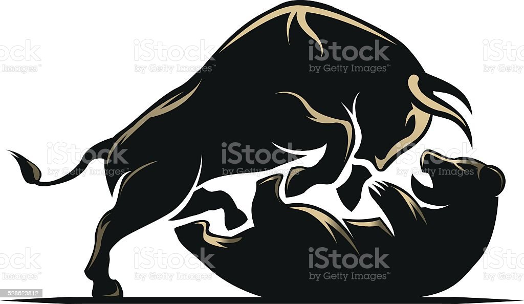 Bear and bull stock market vector art illustration