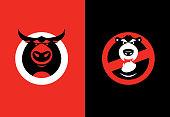 vector illustration of bull and bear warning symbols