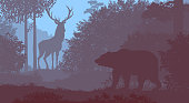 Bear and deer in the forest. Vector two-color illustration.