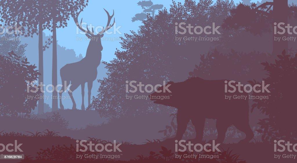 Bear and deer. vector art illustration