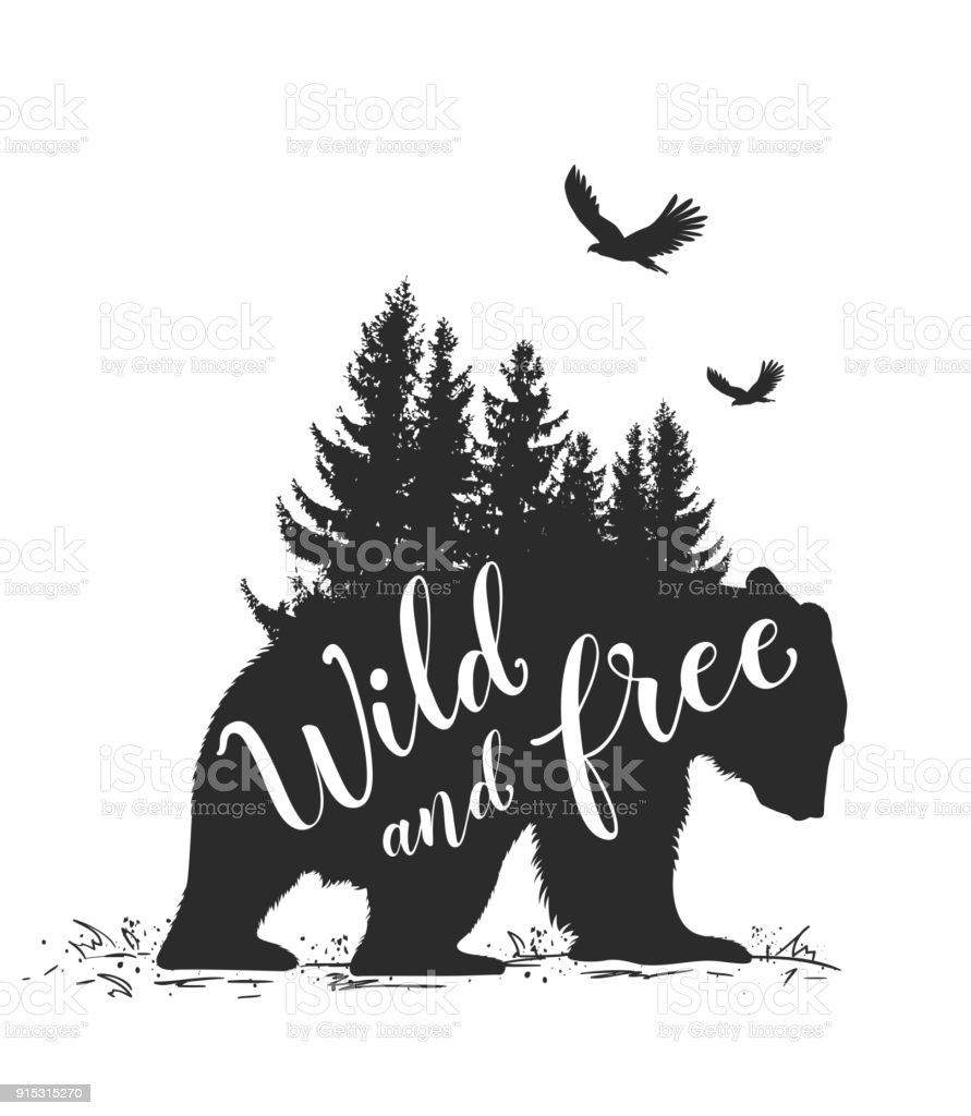 Bear and fir tree vector art illustration