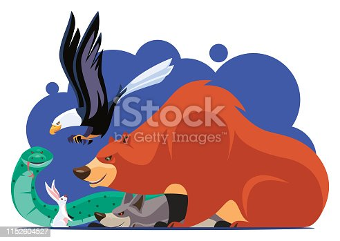 vector illustration of bear and friends meeting rabbit