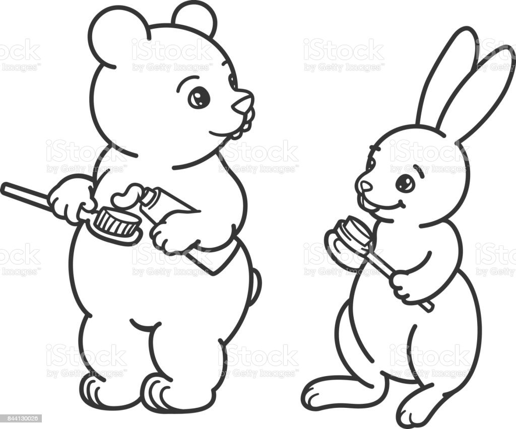 bear and hare brush their teeth with toothbrushes picture for