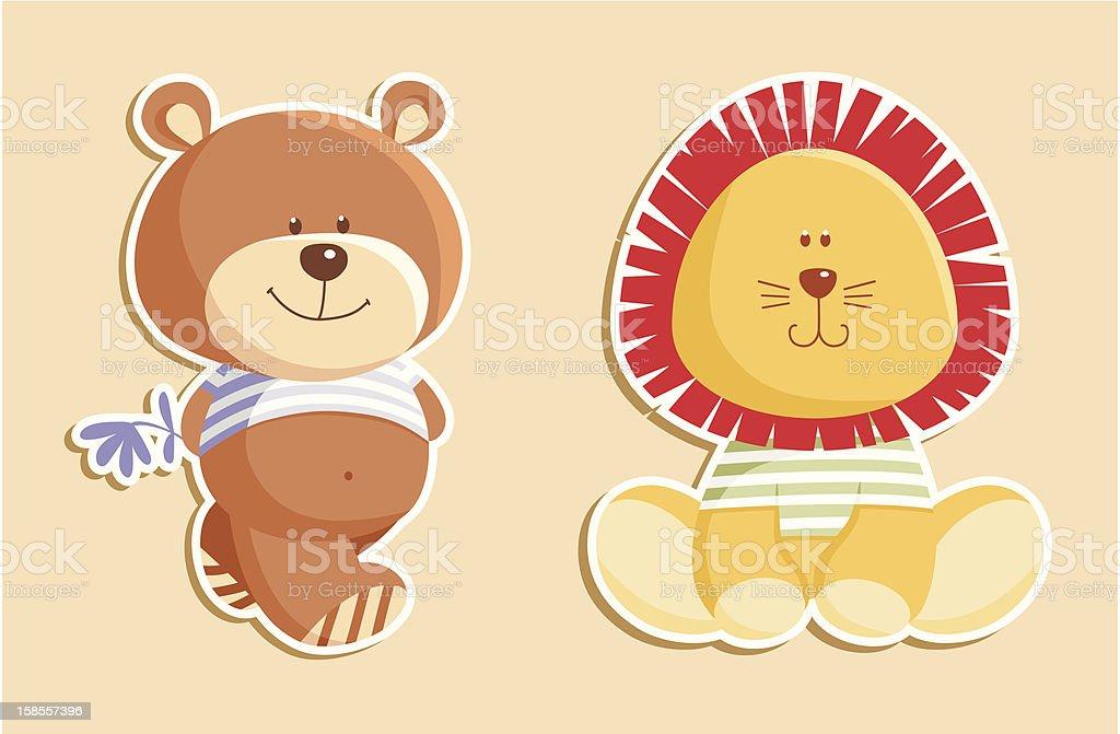 Bear and leon royalty-free stock vector art
