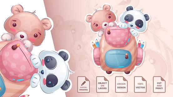 Bear and panda - cute sticker