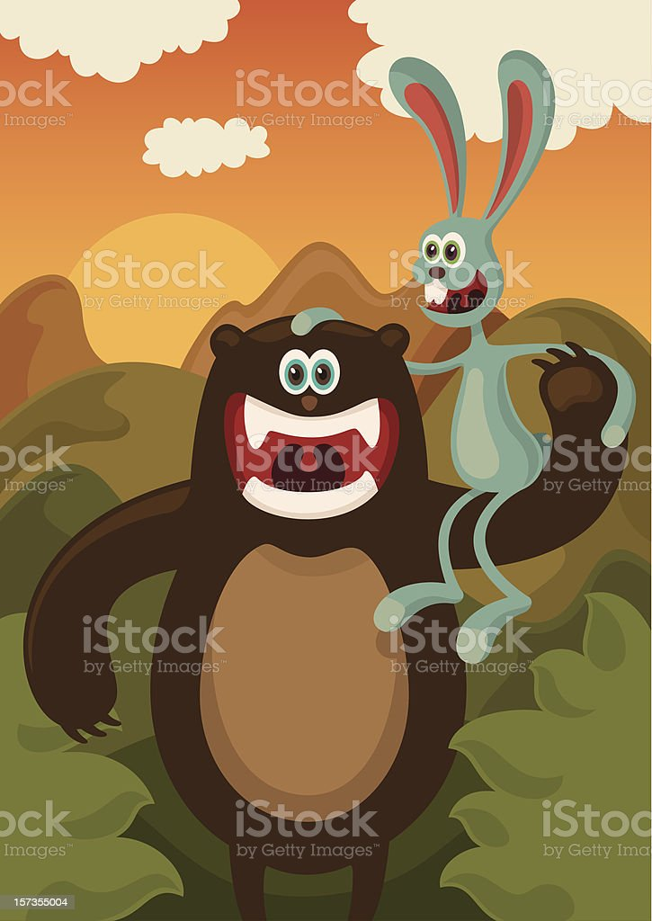 Bear and rabbit. royalty-free bear and rabbit stock vector art & more images of animal