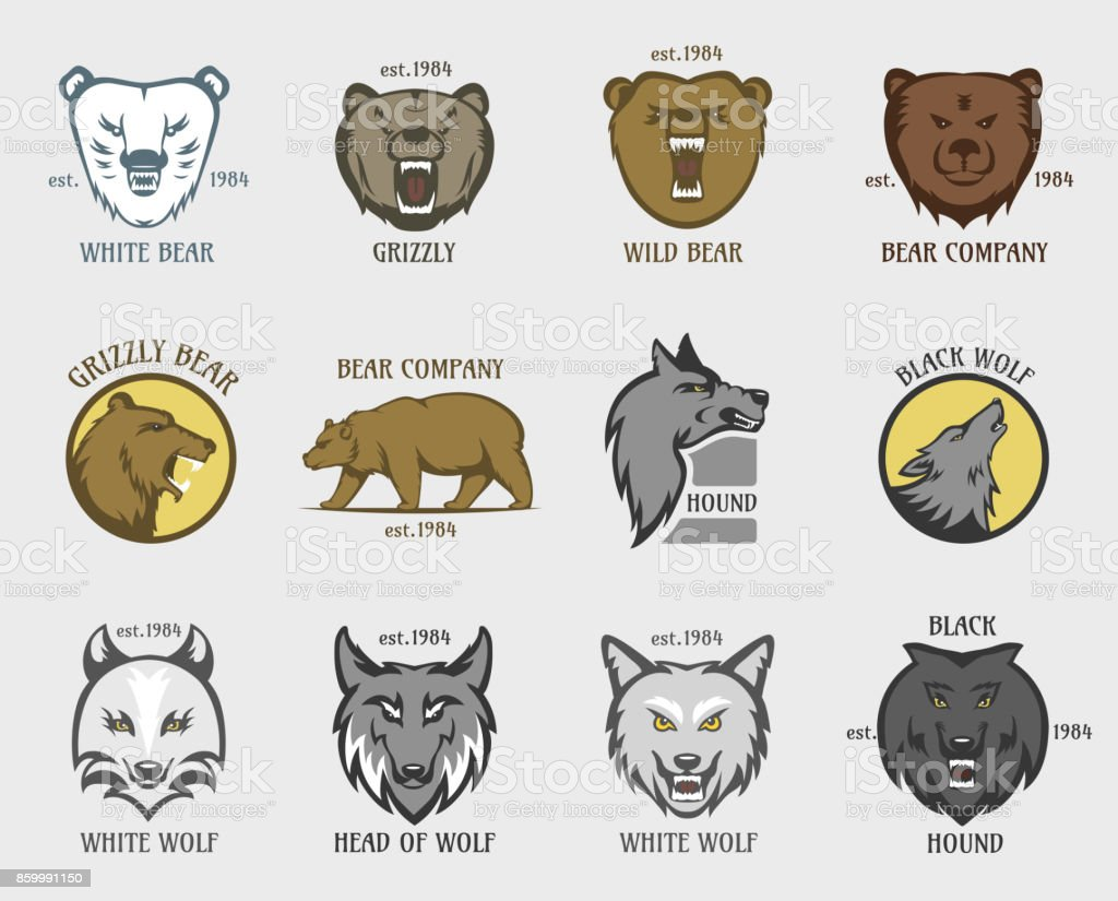 Bear and wolf head animal badge vector illustration vector art illustration