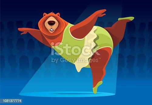 vector illustration of bear ballerina