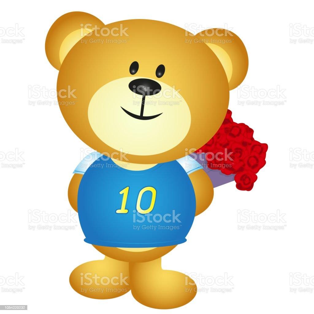 Vetores De Desenho De Menino Urso Esconder Um Buque De Flores E