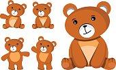 bear brown vector set, five bear Different gestures