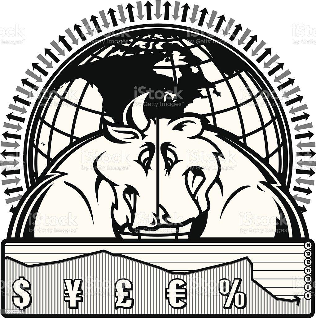 Bear & Bull Market II B&W royalty-free bear bull market ii bw stock vector art & more images of animal