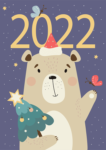 Bear calendar cover 2022. Cute bear in a Santa hat with Christmas tree and a butterfly on a purple background with decor. Vector illustration in a flat style. Vertical postcard for design and printing