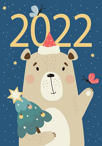 Bear calendar cover 2022. Cute bear in a Santa hat with Christmas tree and a butterfly on a blue background with decor. Vector illustration in a flat style. Vertical postcard for design and printing
