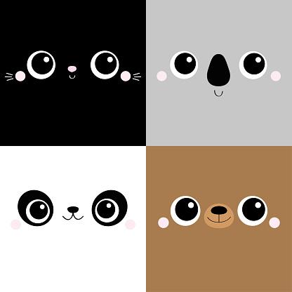 Bear Cat Koala Panda square face head icon set. Cartoon funny character. Cute kawaii animal portrait. Kids print for poster, t-shirt cloth. Love card. Scandinavian style. Flat design. Baby background.