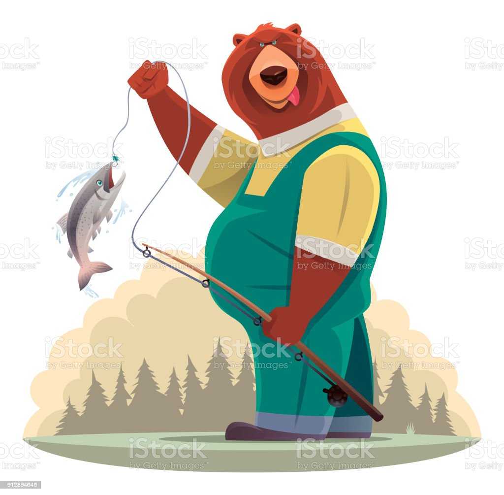 bear catching fish vector art illustration