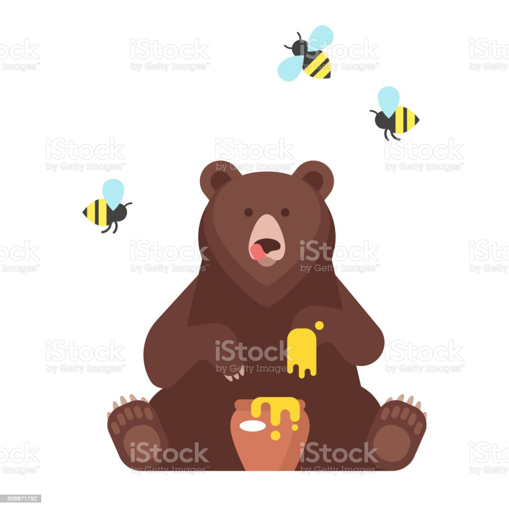 bear character eating sweet honey. vector art illustration