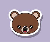 bear character kawaii isolated icon design