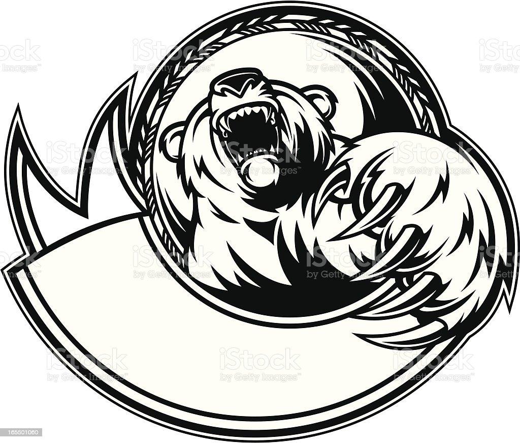 Bear Claw Growl B&W vector art illustration