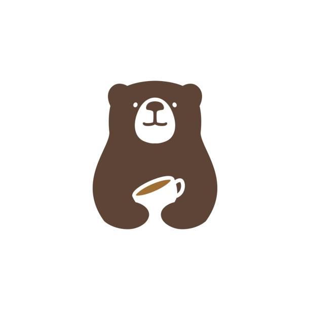 bear coffee vector icon illustration bear coffee vector icon illustration bear stock illustrations