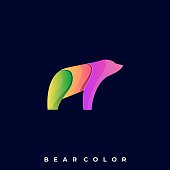 Bear Colorful Illustration Vector Design Template. Suitable for Creative Industry, Multimedia, entertainment, Educations, Shop, and any related business.