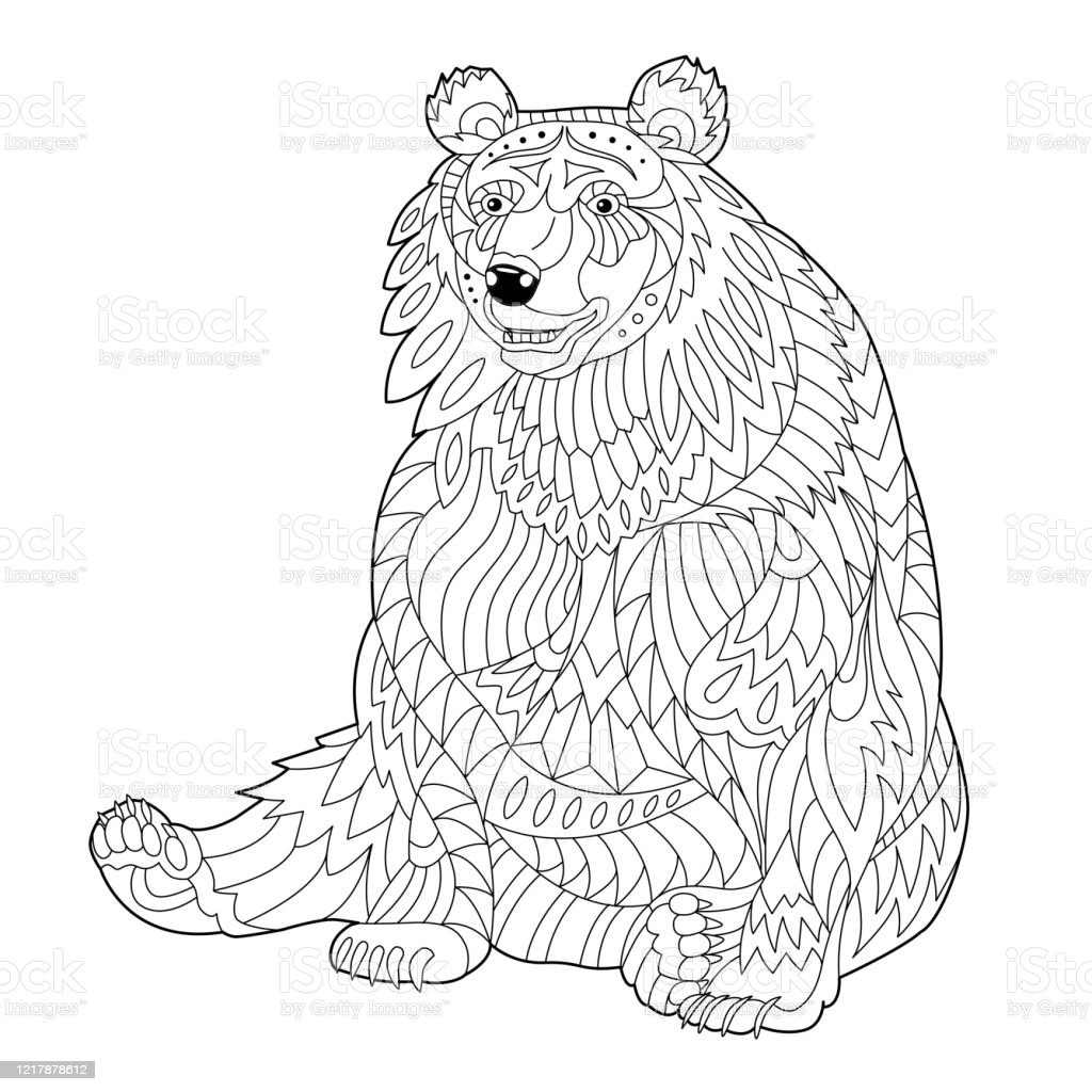 Bear Coloring Page For Adult And Children Stock Illustration