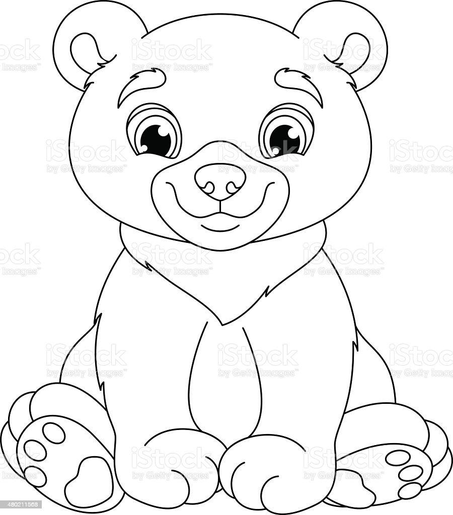 Bear Para Colorear Página - Arte vectorial de stock y más imágenes ...