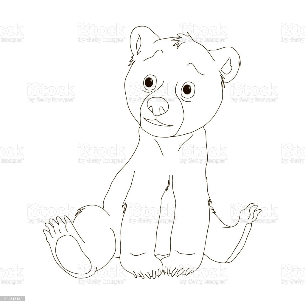 bear coloring pages cartoon coloring book for children vector stock