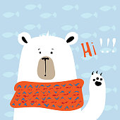 Bear cub in warm orange scarf vector illustration for greeting card.