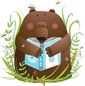 Baby bear sitting in the grass studying. Vector illustration.