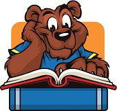 This cute bear cub is reading up on his studies. This clean lined bear is great for any school or curriculum based design.