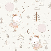 seamless pattern with cute ballerina Bear. Cartoon hand drawn vector illustration. Can be used for t-shirt print, kids wear fashion design, baby shower invitation card.