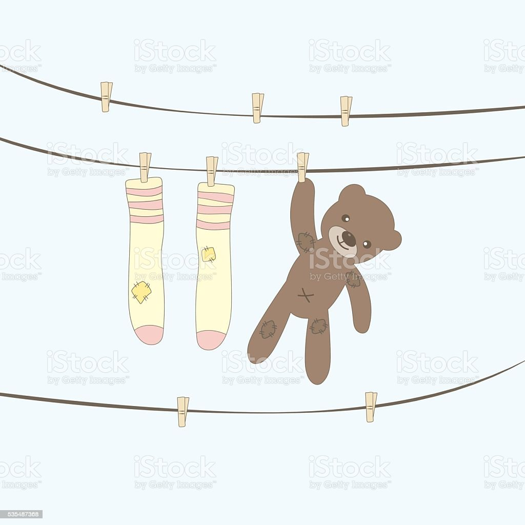 Bear doll hanging with socks. vector design illustration.