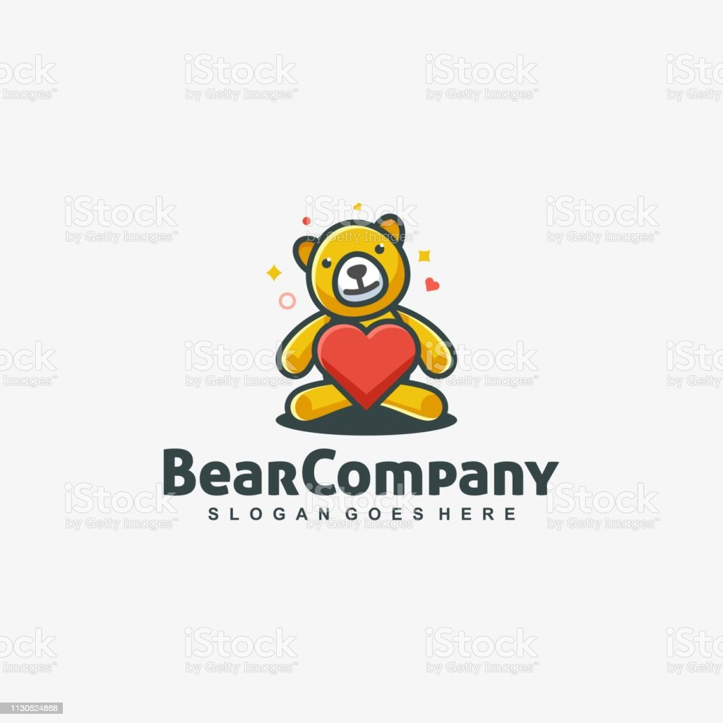 Bear Doll Love Vector Template - ilustração de arte vetorial