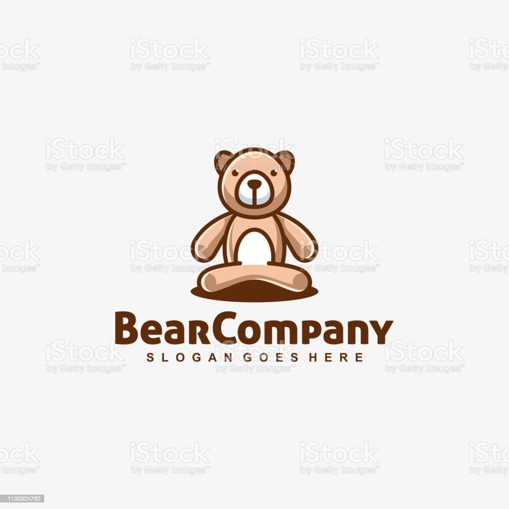 Bear Doll Playful Vector Template - ilustração de arte vetorial