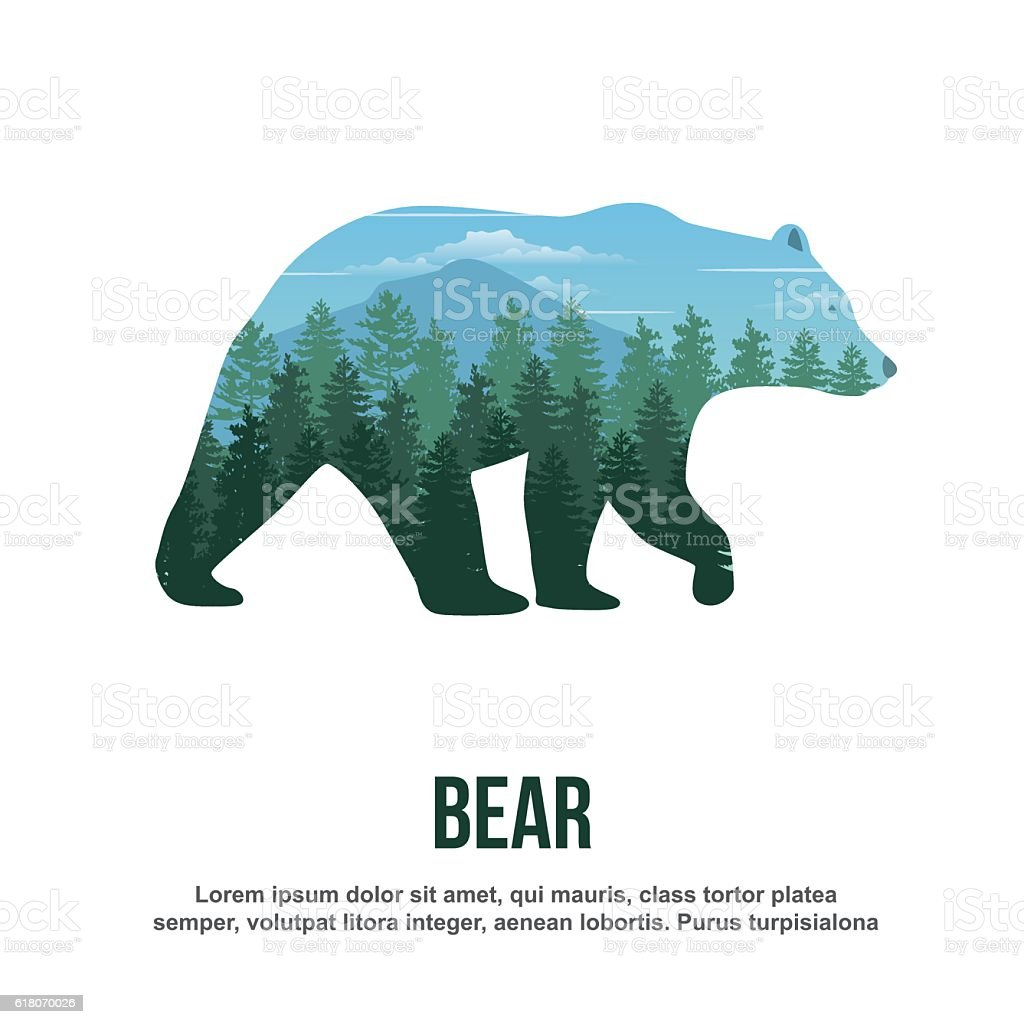 Bear Double Exposure - ilustración de arte vectorial