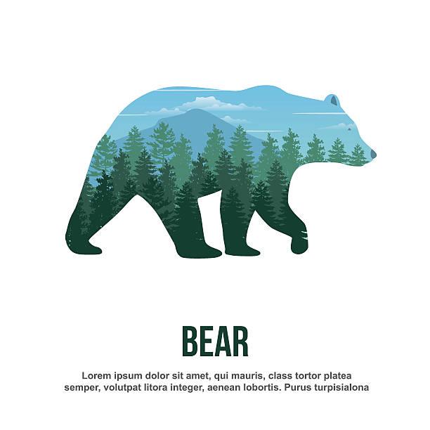 ilustrações, clipart, desenhos animados e ícones de bear double exposure - urso